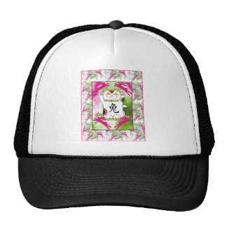Year of the Rabbit Neko in Raspberry Trucker Hats