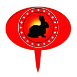 Year of the Rabbit Oval Cake Picks