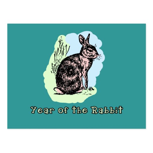 Year of the Rabbit Pastel Tshirt, Mug, Card, Gift Postcards