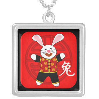 Year of the Rabbit Square Pendant Necklace
