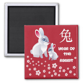 Year of the Rabbit .Two Rabbits 2 Inch Square Magnet