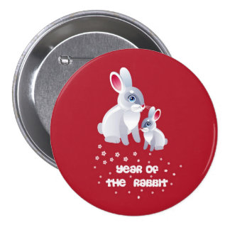 Year of the Rabbit .Two Rabbits Button