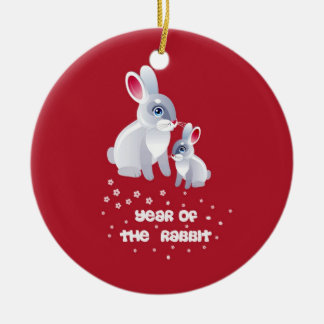 Year of the Rabbit .Two Rabbits Double-Sided Ceramic Round Christmas Ornament