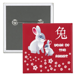 Year of the Rabbit . Two Rabbits Pinback Button