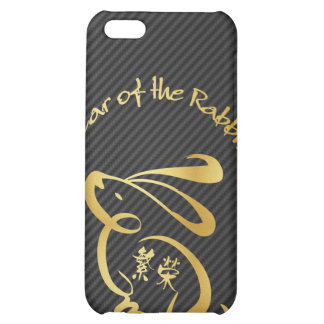 Year of the Rabbit with Faux Carbon Fiber iPhone 5C Cases