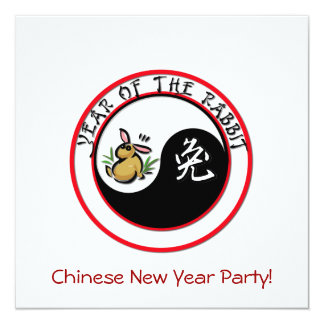 Year of the Rabbit with yin yang Card