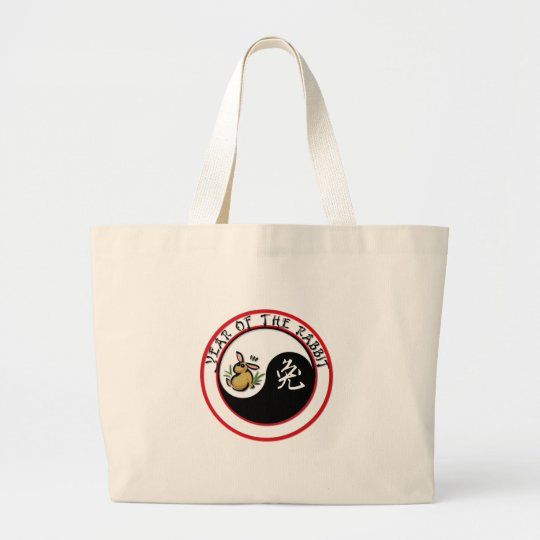 Year of the Rabbit - yinyang Large Tote Bag