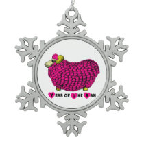 Year of the Ram - Funny Ram in Pink Snowflake Pewter Christmas Ornament