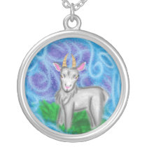 Year of the ram sheep goat silver plated necklace