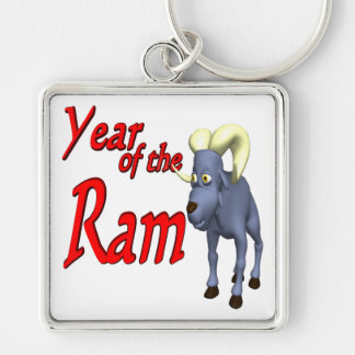 Year Of The Ram Silver-Colored Square Keychain