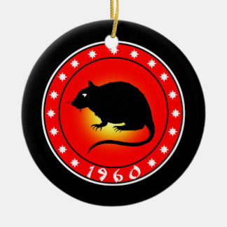 Year of the Rat   1960 Double-Sided Ceramic Round Christmas Ornament