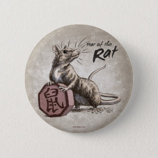 Year of the Rat Chinese Zodiac Art Button