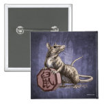 Year of the Rat Chinese Zodiac Art 2 Inch Square Button