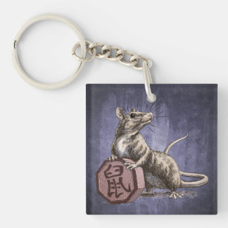 Year of the Rat Chinese Zodiac Art Double-Sided Square Acrylic Keychain