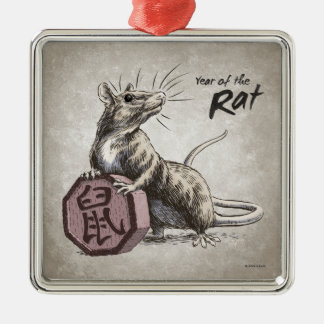 Year of the Rat Chinese Zodiac Art Metal Ornament
