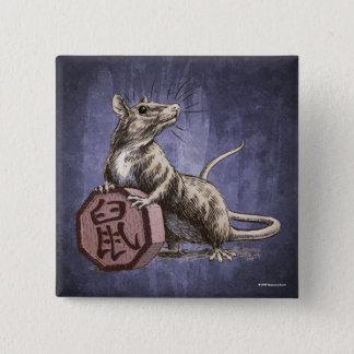 Year of the Rat Chinese Zodiac Art Pinback Button
