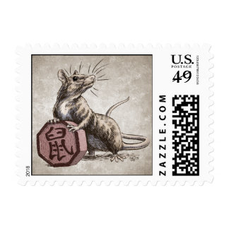 Year of the Rat Chinese Zodiac Art Postage