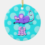 Year of the Rat Double-Sided Ceramic Round Christmas Ornament