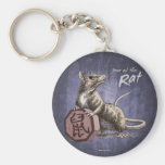Year of the Rat Keychain - purple background