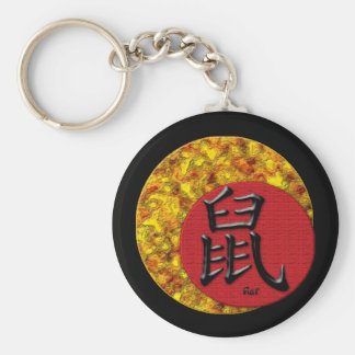 Year of the Rat : Red and Gold Basic Round Button Keychain