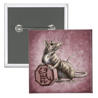 Year of the Rat Square Button - red background