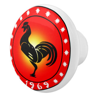 year of the rooster 1969 ceramic knob - Chinese New Year 1969