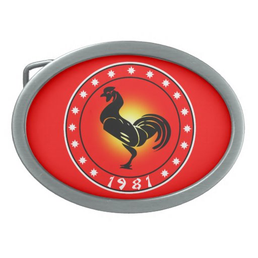 Year of the Rooster 1981 Oval Belt Buckle