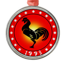 Year of the Rooster 1993 Metal Ornament