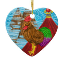 Year of the rooster by Katy Christoff Ceramic Ornament