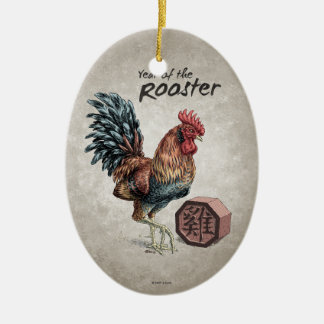 Year of the Rooster Chinese Zodiac Art Ceramic Ornament
