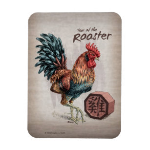 year of the rooster chinese zodiac art magnet