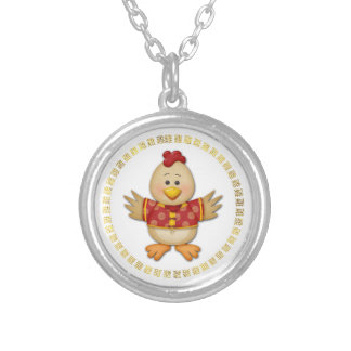 Year of The Rooster Cute Funny Rooster Silver Plated Necklace