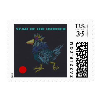 Year of The Rooster Original pencils Drawing Stamp