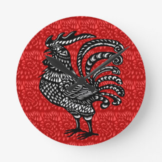 Year of the rooster round clock