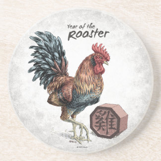 Year of the Rooster Sandstone Coaster