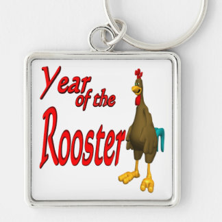Year Of The Rooster Silver-Colored Square Keychain
