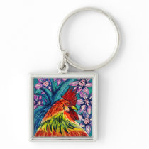 Year of the Rooster Watercolour Key Ring