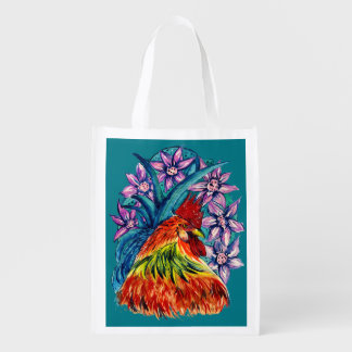 Year of the Rooster Watercolour Reusable Bag Grocery Bag