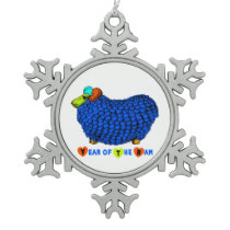 Year of the Sheep Funny Ram in Blue Ornament