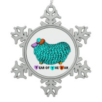 Year of the Sheep Funny Turquoise Ram Snowflake Pewter Christmas Ornament