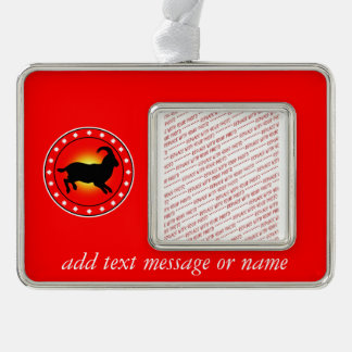 Year of the Sheep / Ram / Goat Silver Plated Framed Ornament