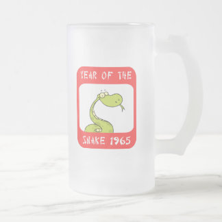 Year of The Snake 1965 Frosted Glass Beer Mug