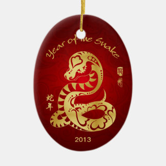 Year of the Snake 2013 - Chinese New Year Double-Sided Oval Ceramic Christmas Ornament