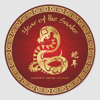Year of the Snake 2013 - Happy Chinese New Year Classic Round Sticker