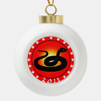 Year of the Snake 2013 Ceramic Ball Christmas Ornament
