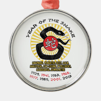 Year of the Snake 2013 Qualities Round Metal Christmas Ornament