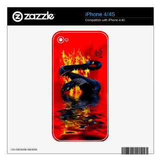 Year of the Snake Black Snake Chinese New Year Decal For iPhone 4