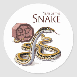 Year of the Snake Chinese Zodiac Art Classic Round Sticker