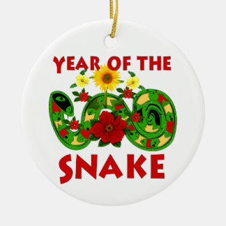Year Of The Snake Double-Sided Ceramic Round Christmas Ornament