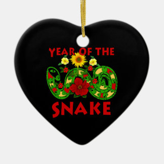Year Of The Snake Double-Sided Heart Ceramic Christmas Ornament